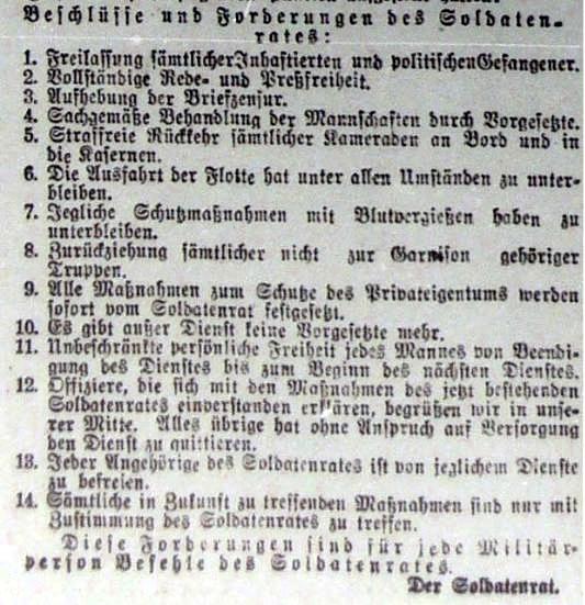 Προκήρυξη του Συμβουλίου Στρατιωτών, Κίελο, 4 Νοεμβριου 1918
